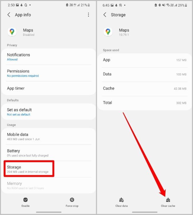 Xóa dữ liệu bộ nhớ cache cho Google Maps