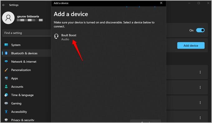 thêm thiết bị bluetooth vào cài đặt windows 11