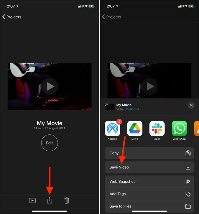Nhấn vào biểu tượng Xong Chia sẻ và Lưu Video trên iPhone