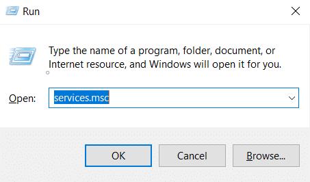 Chạy loại cửa sổ Services.msc và nhấn Enter.  iPhone không hiển thị trong máy tính của tôi