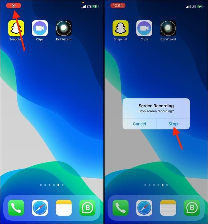 Dừng ghi màn hình trên iPhone
