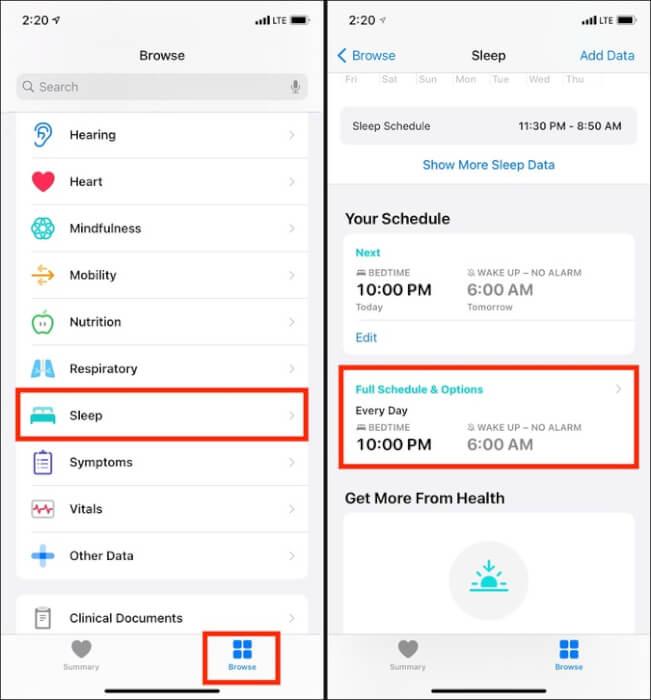 Trong ứng dụng iPhone Health, chạm vào Duyệt chế độ Ngủ và Toàn bộ Lịch biểu & Tùy chọn