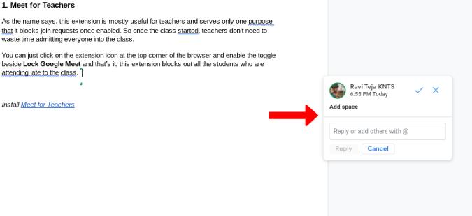 Trả lời một Đề xuất trên Google Tài liệu