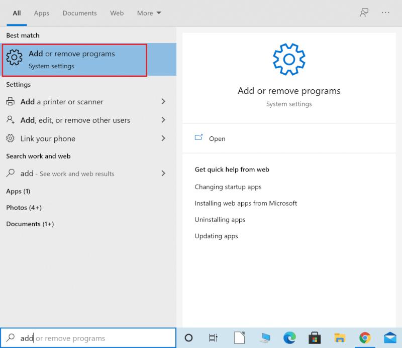 Nhập Thêm hoặc xóa chương trình vào tìm kiếm của Windows   Sửa mã lỗi Destiny 2 Broccoli trên Windows 10