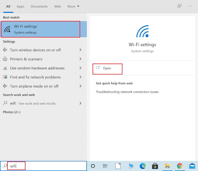 Nhập Wi-Fi vào thanh tìm kiếm của Windows.  Khởi chạy cài đặt Wi-Fi