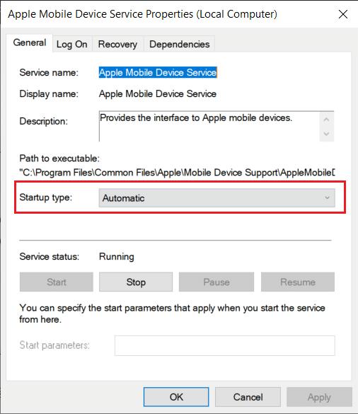 Đảm bảo Dịch vụ của Apple đang chạy.  máy tính không nhận dạng được iPhone