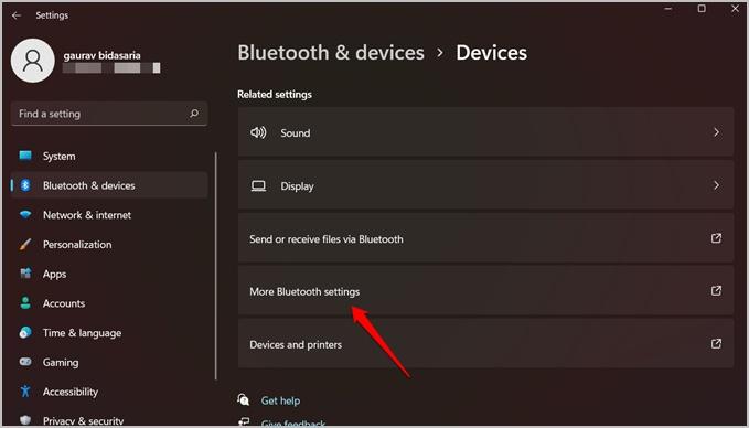 nhiều cài đặt bluetooth hơn trong windows 11