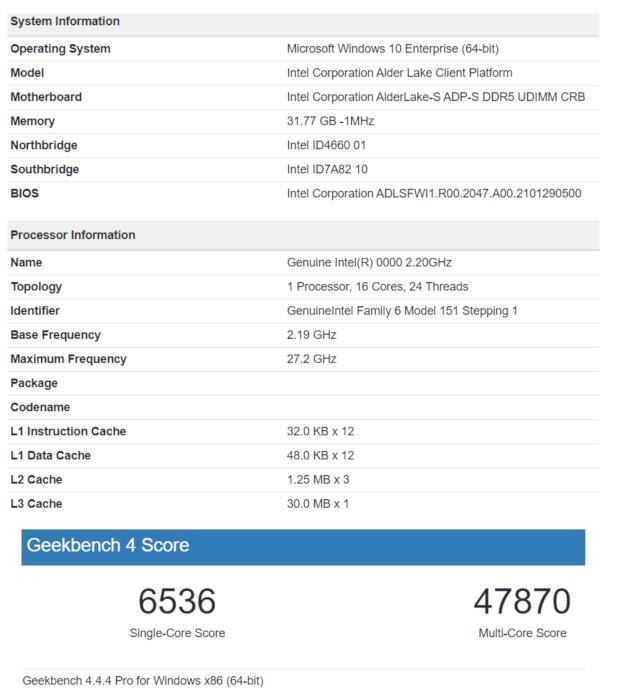 Điểm Geekbench của Intel Alder Lake S 16 lõi 24 luồng