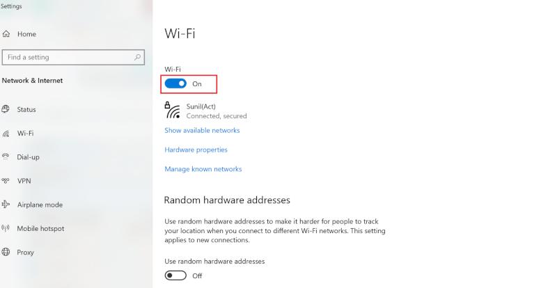 Trên ngăn bên phải của cửa sổ cài đặt, đảm bảo bật trong Wi-Fi   Khắc phục sự cố Miracast không hoạt động trên Windows 10