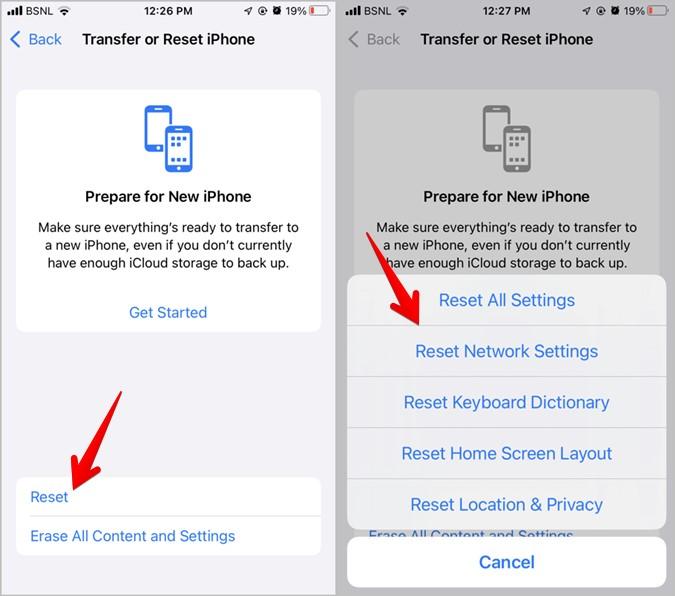 Khắc phục iPhone không thể nhận cuộc gọi Đặt lại cài đặt mạng
