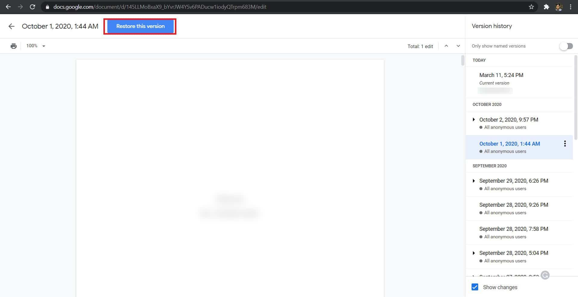 Chọn 'Khôi phục phiên bản này.'  |  Cách khôi phục tài liệu Google đã xóa