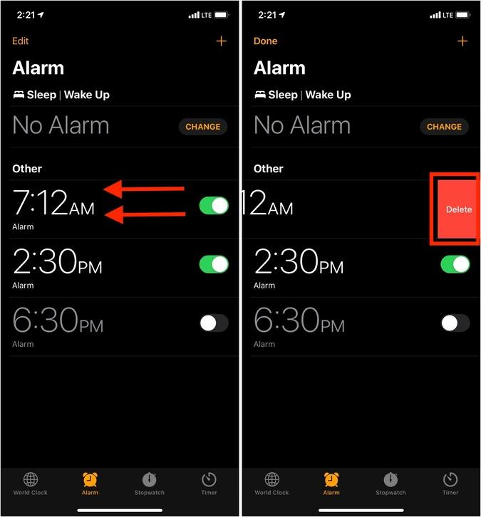 Xóa báo thức hiện có trong ứng dụng Đồng hồ iPhone