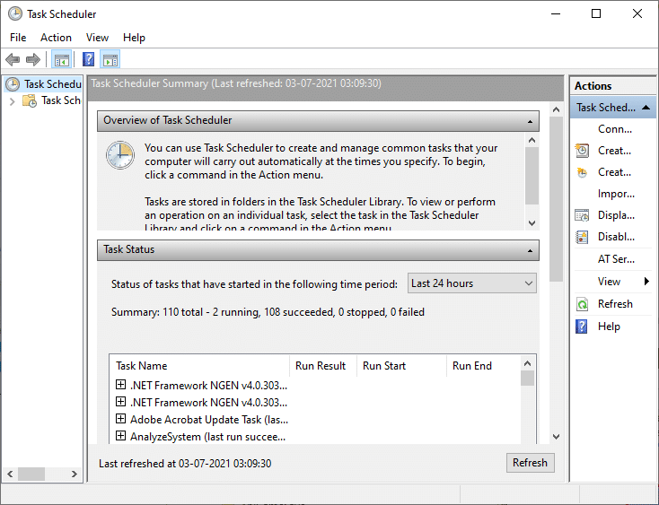 Bây giờ, cửa sổ Task Scheduler sẽ mở ra