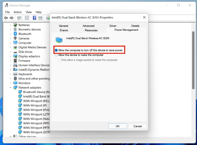 quản lý năng lượng trong Windows Wi-Fi