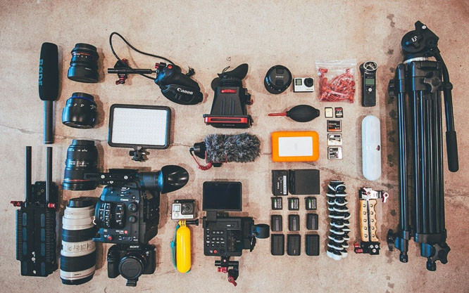 Camera Gear Laid Out
