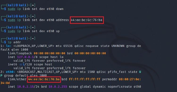 thay đổi địa chỉ mac linux bằng liên kết ip
