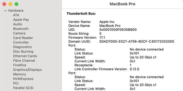 Cửa sổ thông tin hệ thống Mac hiển thị chi tiết phần cứng Thunderbolt.