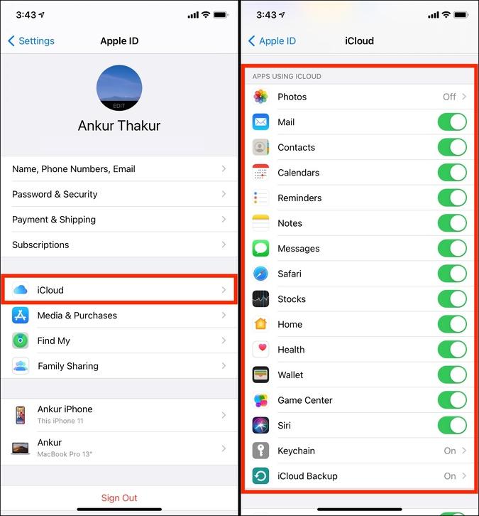 Ứng dụng sử dụng iCloud trên iPhone