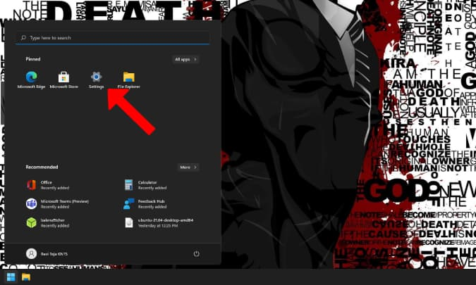 Mở Cài đặt trên Windows 11