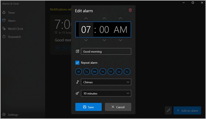 đồng hồ báo thức windows 11