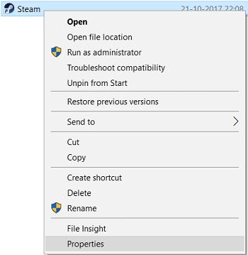 Nhấp chuột phải vào lối tắt Steam trên màn hình của bạn và chọn Thuộc tính.  Sửa lỗi không có âm thanh trên trò chơi Steam
