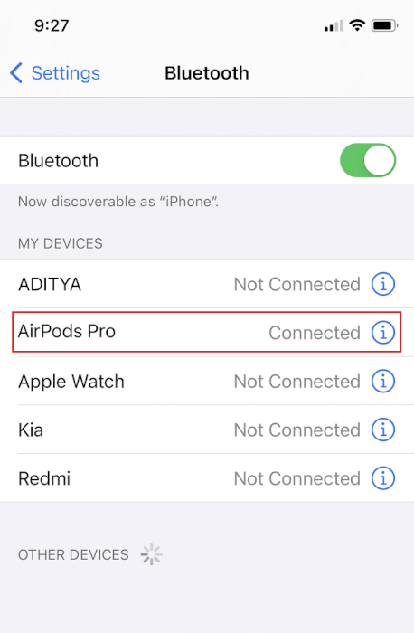 Ngắt kết nối thiết bị Bluetooth.  Cách đặt lại AirPods Pro