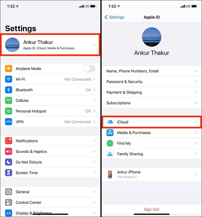 Nhấn vào tên iCloud trong ứng dụng Cài đặt trên iPhone