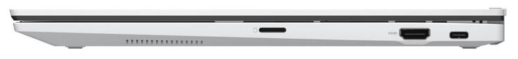 Cạnh phải: đầu đọc thẻ nhớ (microSD), HDMI, USB 3.2 Gen 2 (Type-C; Power Delivery, DisplayPort)