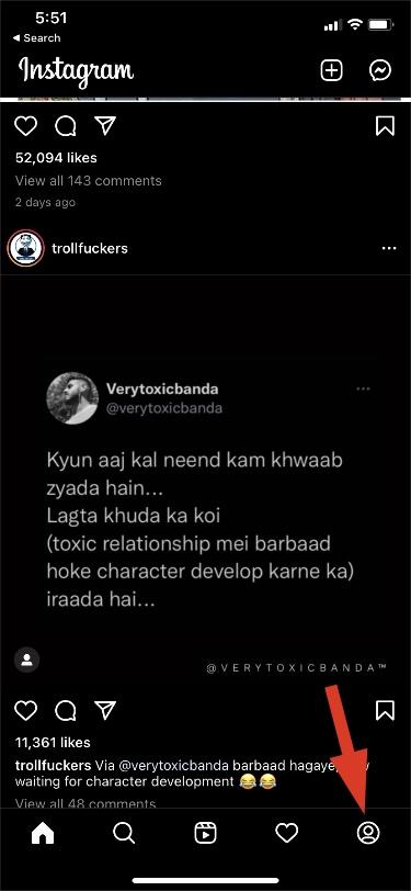 vào tài khoản instagram