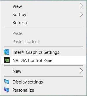 Nhấp chuột phải vào màn hình ở vùng trống và chọn bảng điều khiển NVIDIA