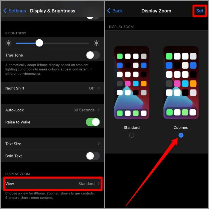 Thu phóng hiển thị trên iPhone