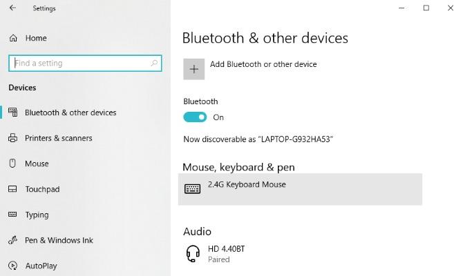 Cài đặt Bluetooth Windows 10
