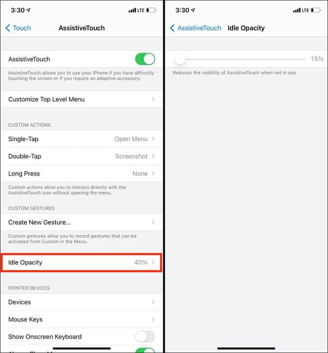 Độ mờ không hoạt động trong AssistiveTouch trong iOS 14