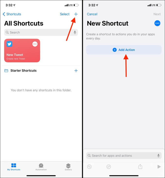 Biểu tượng dấu cộng Thêm hành động trong ứng dụng Phím tắt trong iOS 14